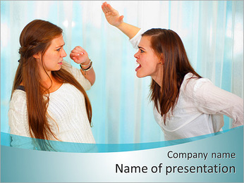 Sister Quarrel PowerPoint Template - Slide 1