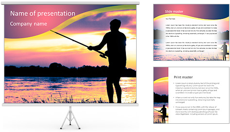 Fishing At Sunset PowerPoint Template
