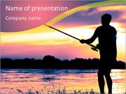 Fishing At Sunset PowerPoint Templates
