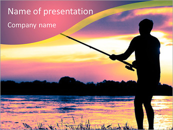 Fishing At Sunset PowerPoint Template - Slide 1