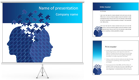 Blue Head Puzzle PowerPoint Template