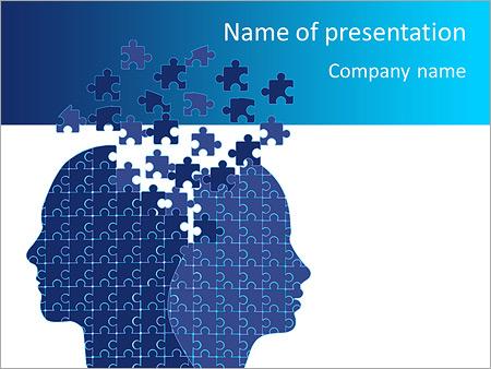 Blue Head Puzzle PowerPoint Templates