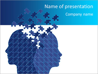 Blue Head Puzzle PowerPoint Template - Slide 1