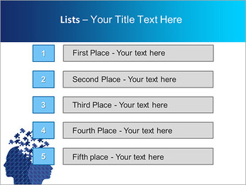 Blue Head Puzzle PowerPoint Template - Slide 3