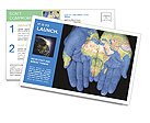 Map On Hands Postcard Template