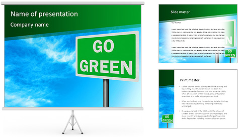 Go Green Sign PowerPoint Template