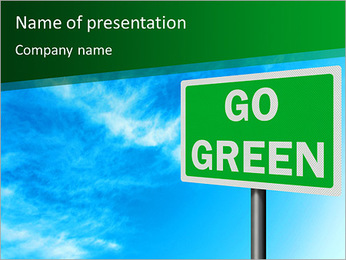 Go Green Sign PowerPoint Template - Slide 1