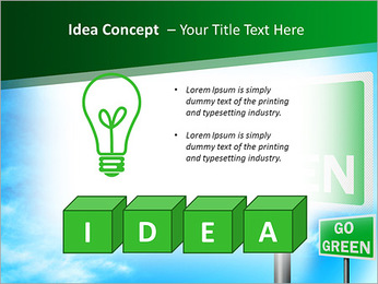 Go Green Sign PowerPoint Template - Slide 60