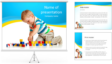 Boy Plays Lego PowerPoint Template