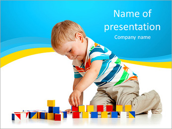 Boy Plays Lego PowerPoint Template - Slide 1
