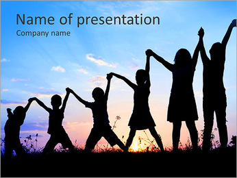 Group Of Children PowerPoint Template - Slide 1