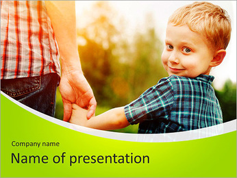Walk With Kid PowerPoint Template - Slide 1