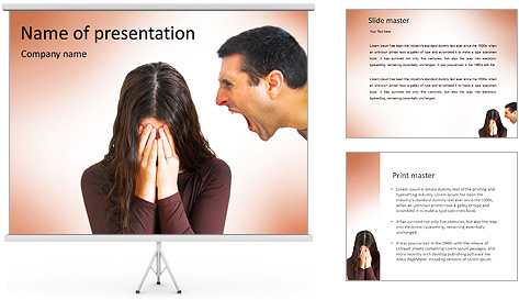 Quarreling Couple PowerPoint Template