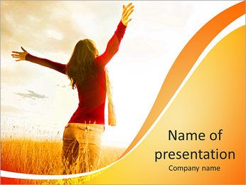 Woman Enjoy Nature PowerPoint Template - Slide 1