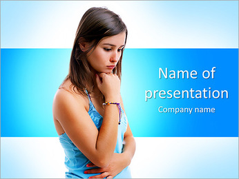 Sad Young Lady PowerPoint Template - Slide 1
