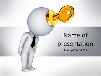 Key To Brain PowerPoint Templates - Slide 1