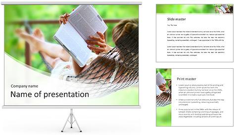 Reading In Hammock PowerPoint Template