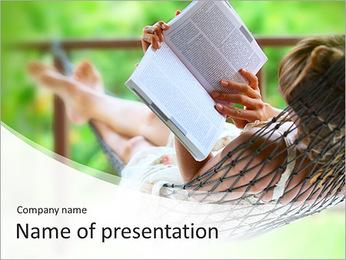 Reading In Hammock PowerPoint Template - Slide 1