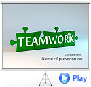 Green Teamwork Puzzle Animated PowerPoint Template