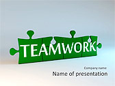 Green Teamwork Puzzle Animated PowerPoint Template - Slide 1