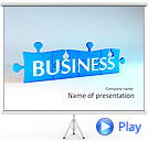 Blue Business Puzzle Animated PowerPoint Template