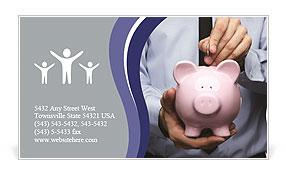 Pink Pig Bank Business Card Template