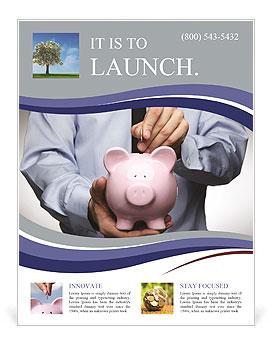 pink pig bank flyer template design id 0000007825 smiletemplates com