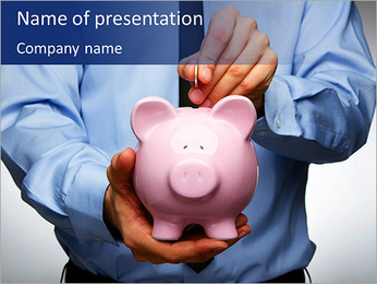Pink Pig Bank PowerPoint Template
