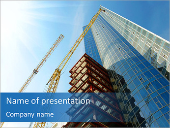 超高層ビルを建設 PowerPointプレゼンテーションのテンプレート