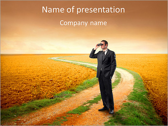 Businessman Outdoors PowerPoint Template
