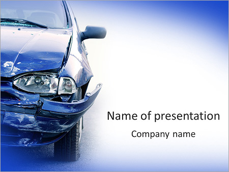 broken car powerpoint template & backgrounds id 0000007855, Modern powerpoint