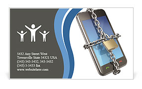 Mobile Phone In Chain Business Card Template