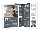 Businessman With Huge Stone Brochure Templates
