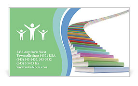 Stairs Made Of Books Business Card Templates