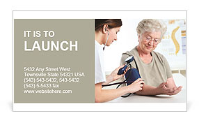 Old Woman Checks Blood Pressure Business Card Template