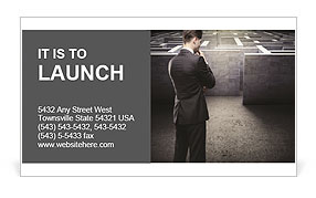 Businessman At Labyrinth Business Card Template