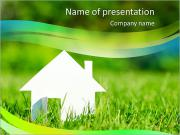 White House In Grass PowerPoint Templates