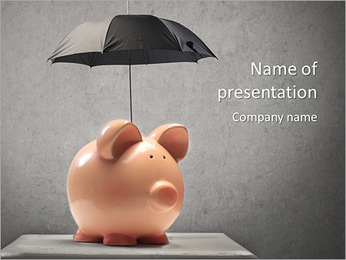 Umbrella covering the pink piggy bank PowerPoint Template