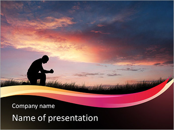 Man sits at sunset PowerPoint Template