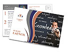 Business man writing knowledge concept Postcard Templates