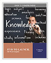 Business man writing knowledge concept Word Templates