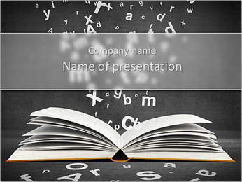 Open book with falling letters over grey background PowerPoint Template