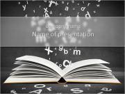 Open book with falling letters over grey background PowerPoint Templates
