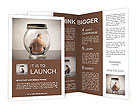 Overweight man sitting in a jar Brochure Templates