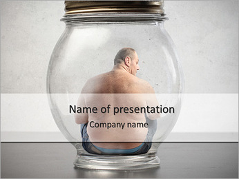 Overweight man sitting in a jar PowerPoint Template