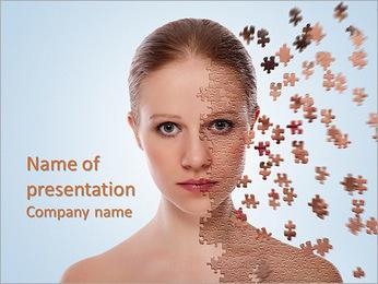 Концепция охраны здоровья изображение - Красивая молодая женщина с головоломки Шаблоны презентаций PowerPoint