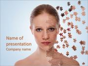 Health concept image - Beautiful young woman with puzzle PowerPoint Templates