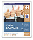 Close-up of business team holding their thumbs up Poster Template