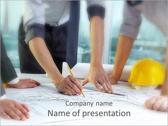 Três pares de mãos esboçar um projeto de habitação Modelos de apresentações PowerPoint