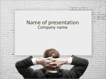 Confident businessman presenting empty board PowerPoint Template